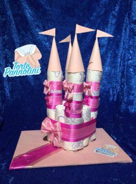 torte pannolini castello rosa